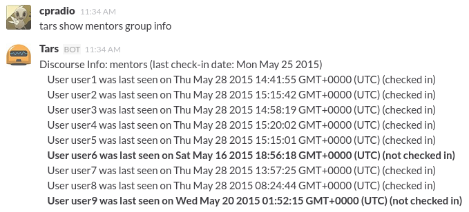 Output of 'show mentor group info'