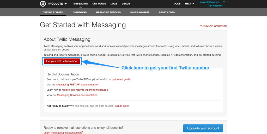The Twilio Getting Started screen