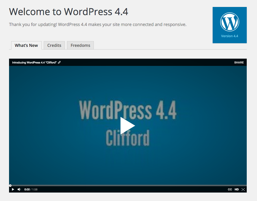 WordPress 4.4 Welcome