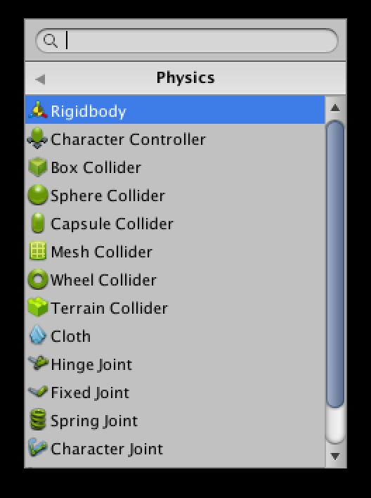 Adding a Rigidbody component