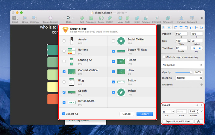 Exporting Assets with Sketch App
