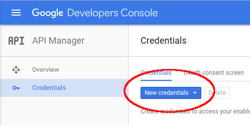 New credentials button