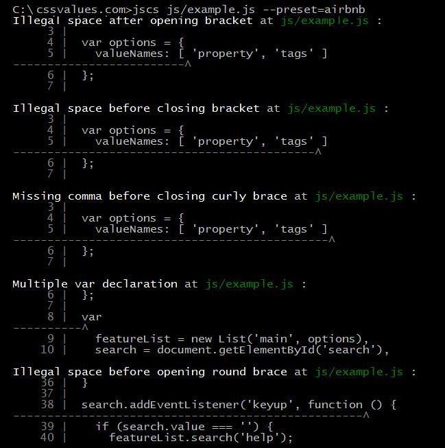JSCS Terminal Output