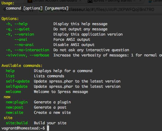 Screenshot of Spress output