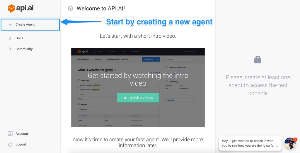 Creating new agent in Api.ai