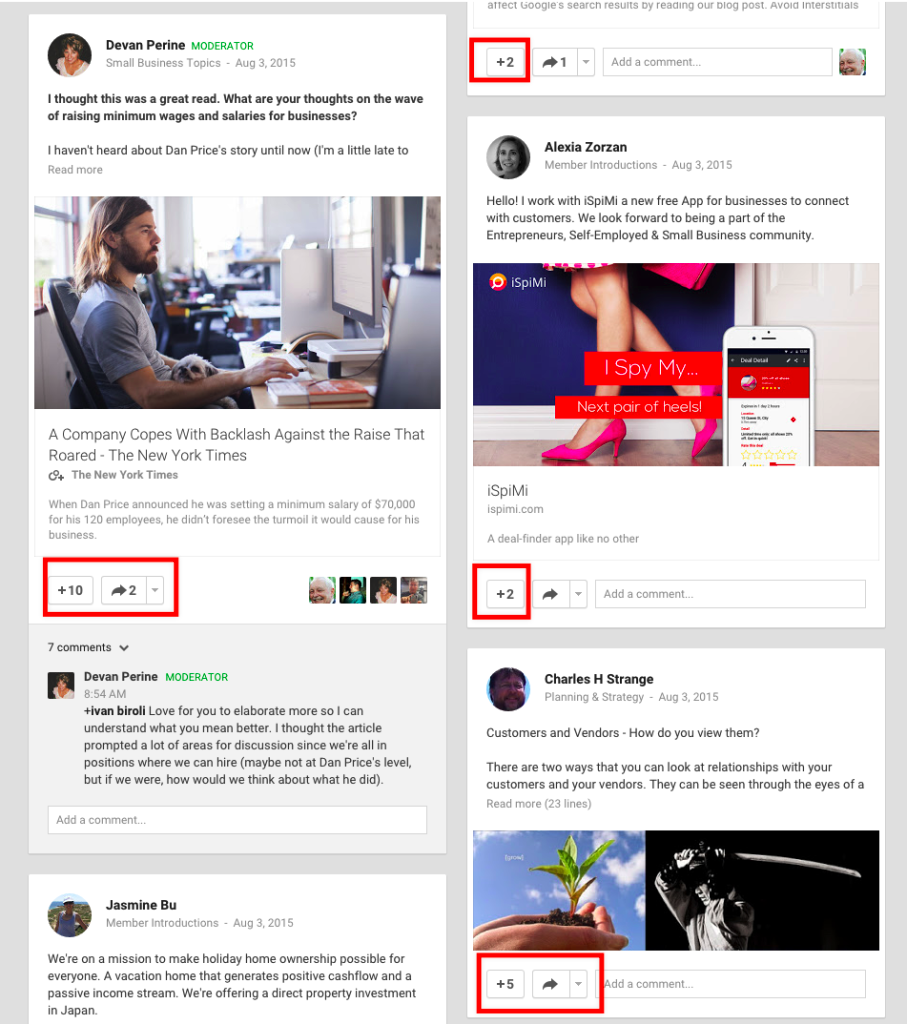 Google+ discussion groups
