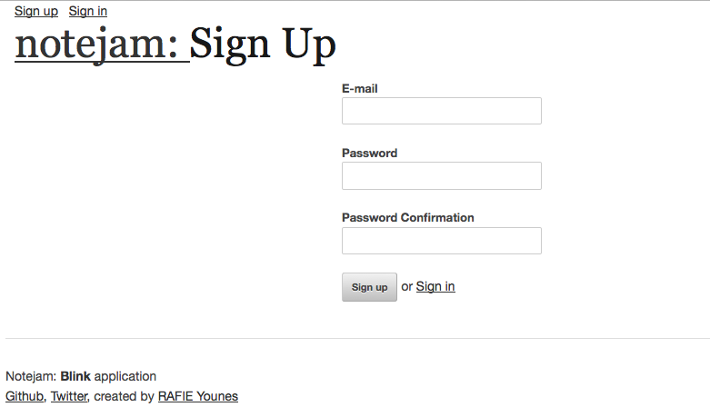 Sign up page