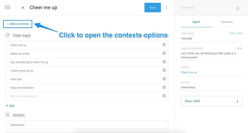 Opening the context options