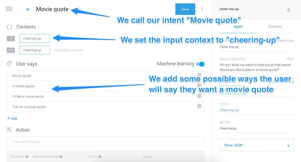 Our custom movie quote intent
