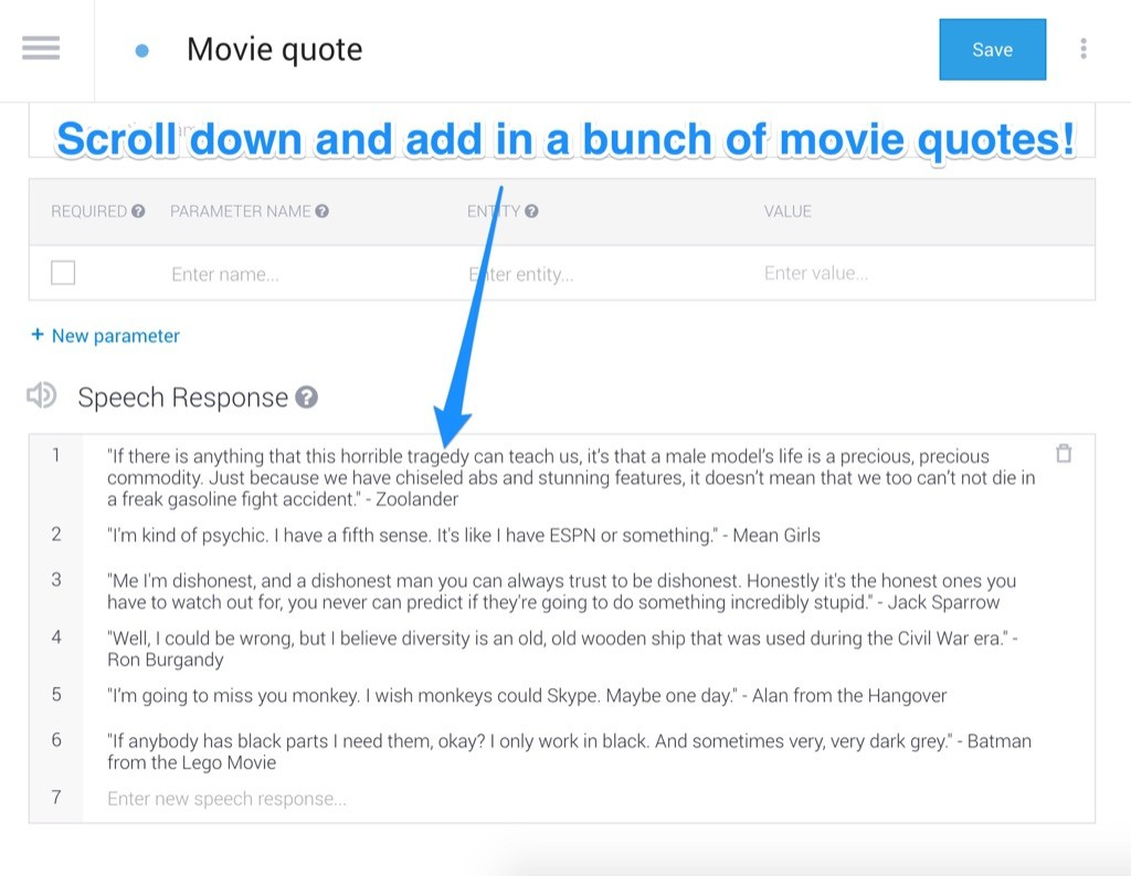 Adding our movie quotes