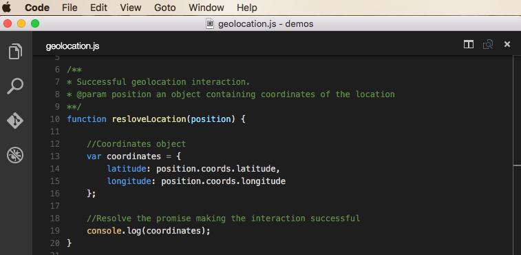 Geolocation demo successful interaction