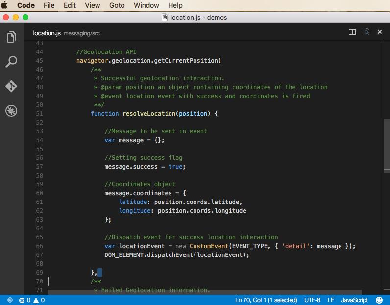 Messaging module code example