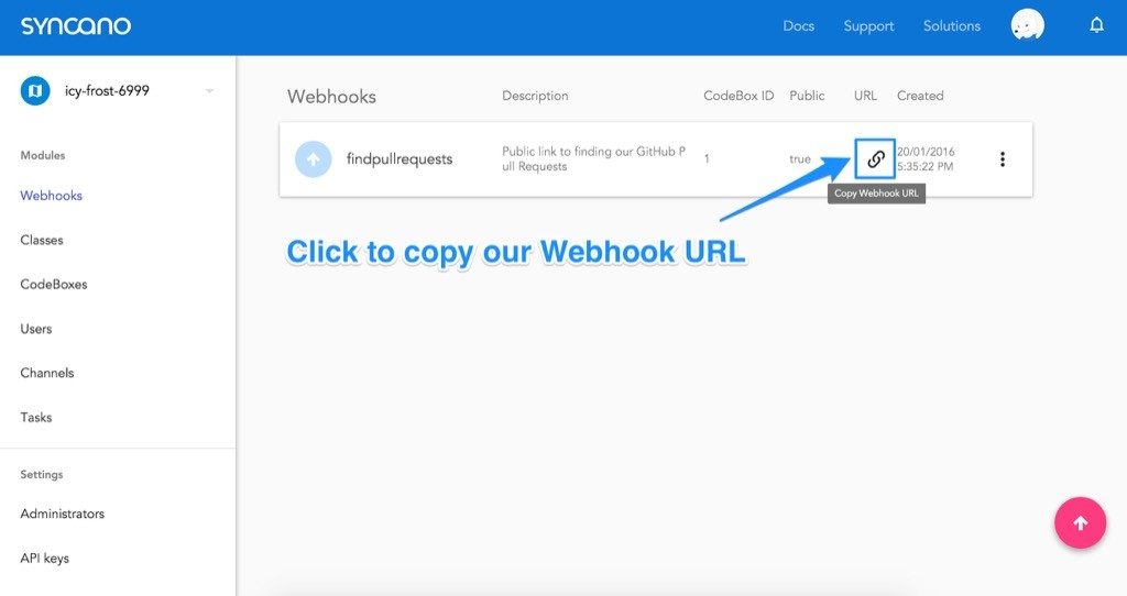 Copying our Webhook URL