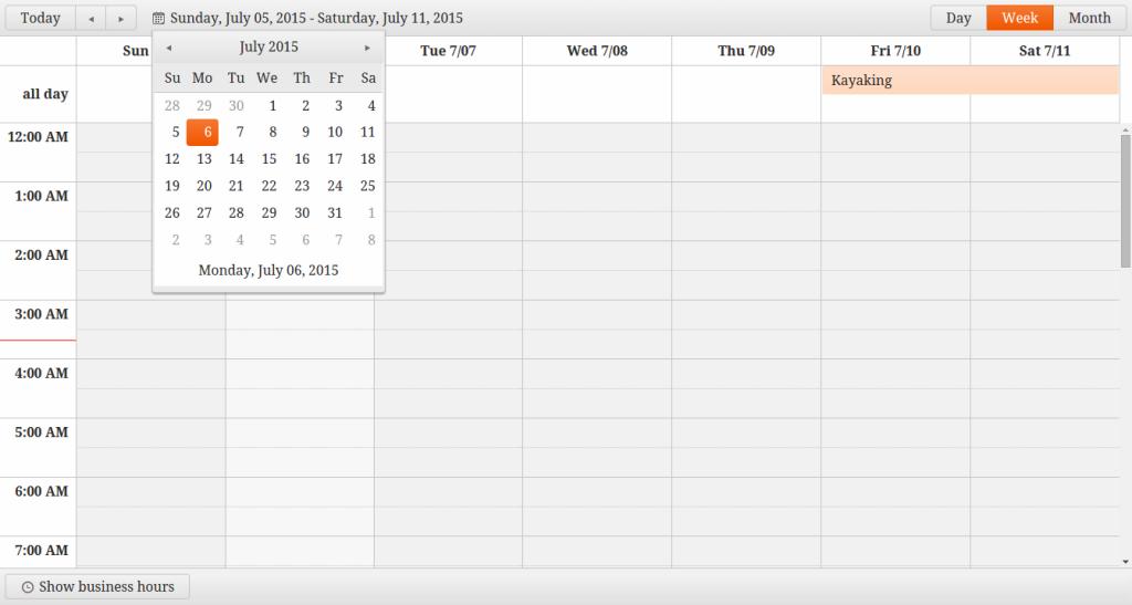 Kendo UI Mini calendar