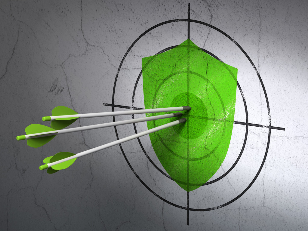 Shield target being hit by arrows