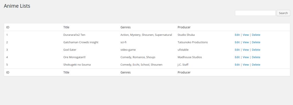 Anime Lists