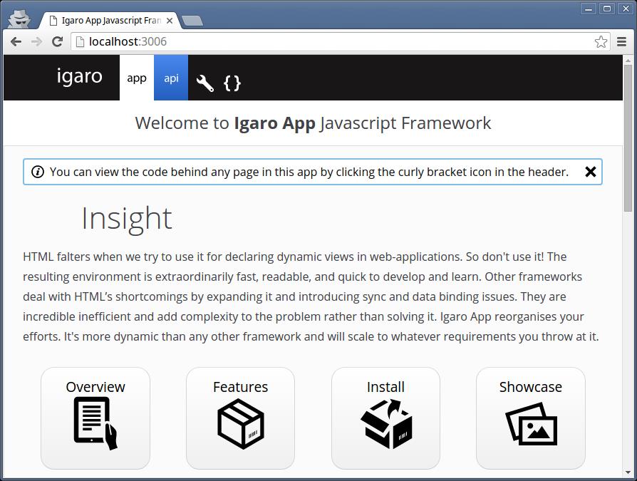 Screen shot of a standard Igaro App install