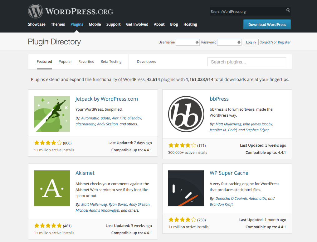 WordPress Plugin Directory Jan 2016