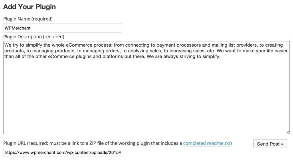Add WordPress Plugin Form