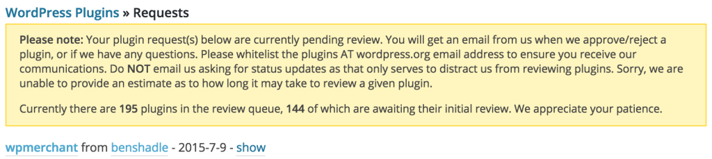 WordPress pending approval