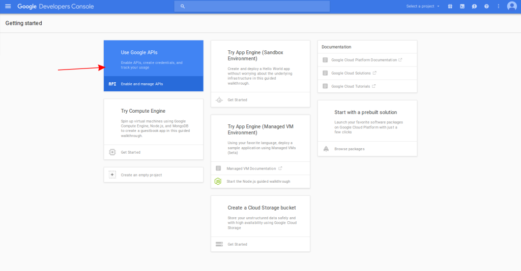 Screenshot of the Google Console screen