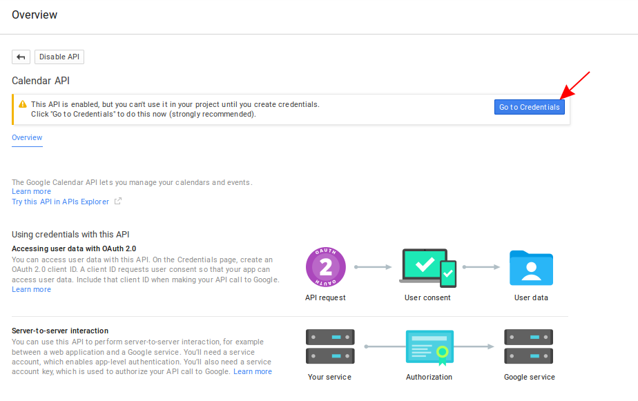 Screenshot of the Google Calendar API overview screen
