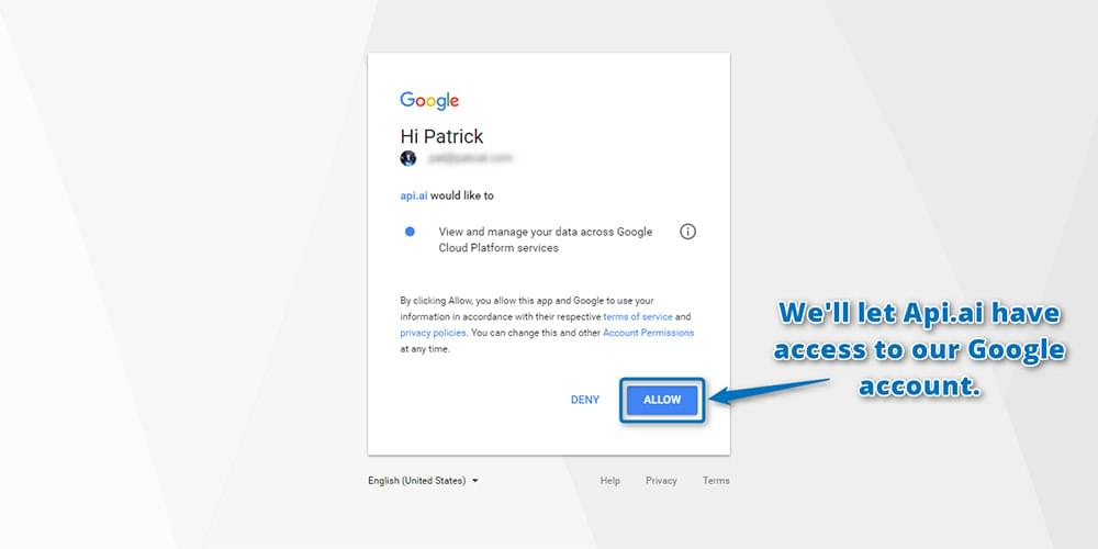 Granting access to your Google account