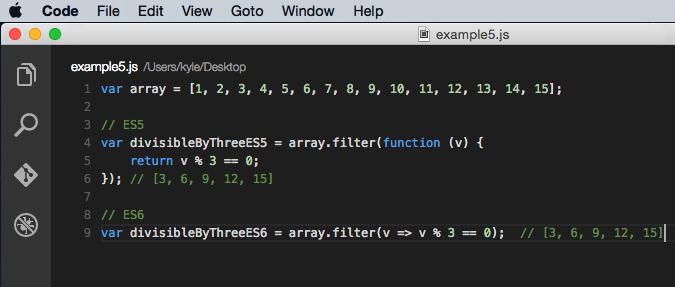 Array filter method example