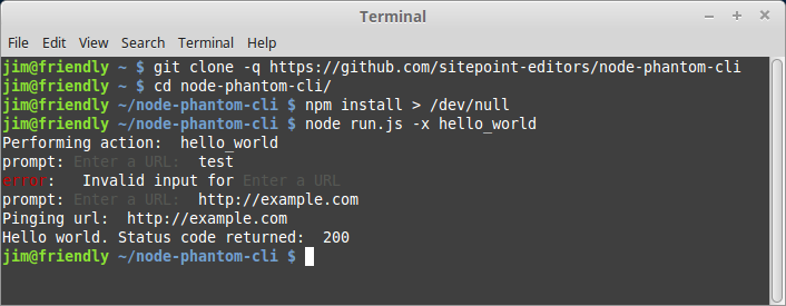 Output of running hello_world command