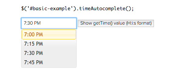 jQueryTimeAutocomplete example