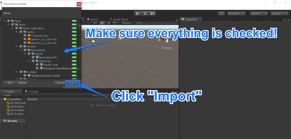 Importing Meta package ensuring everything is checked