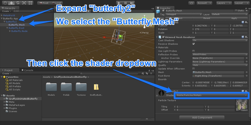 Butterfly shader dropdown