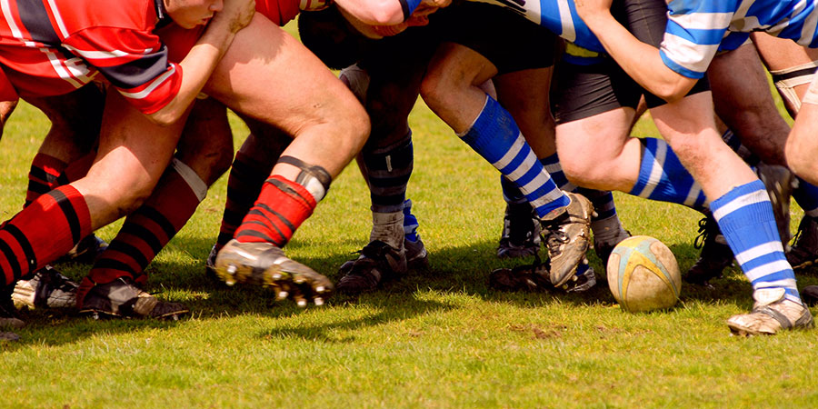 A rugby scrum, which is not the same thing as scrum development.