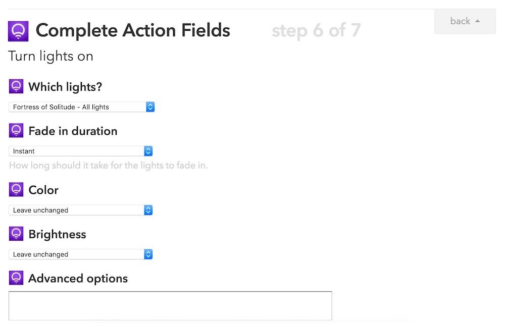 Completing the action fields