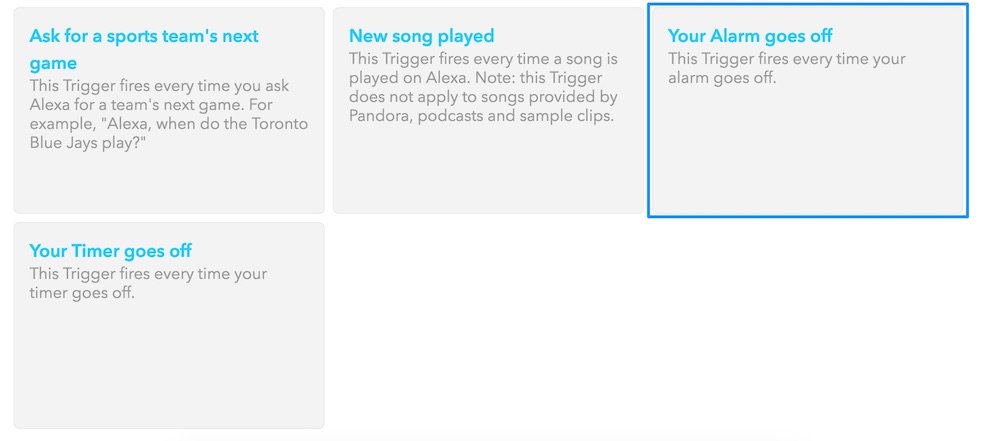 Triggering on Amazon Echo's alarm