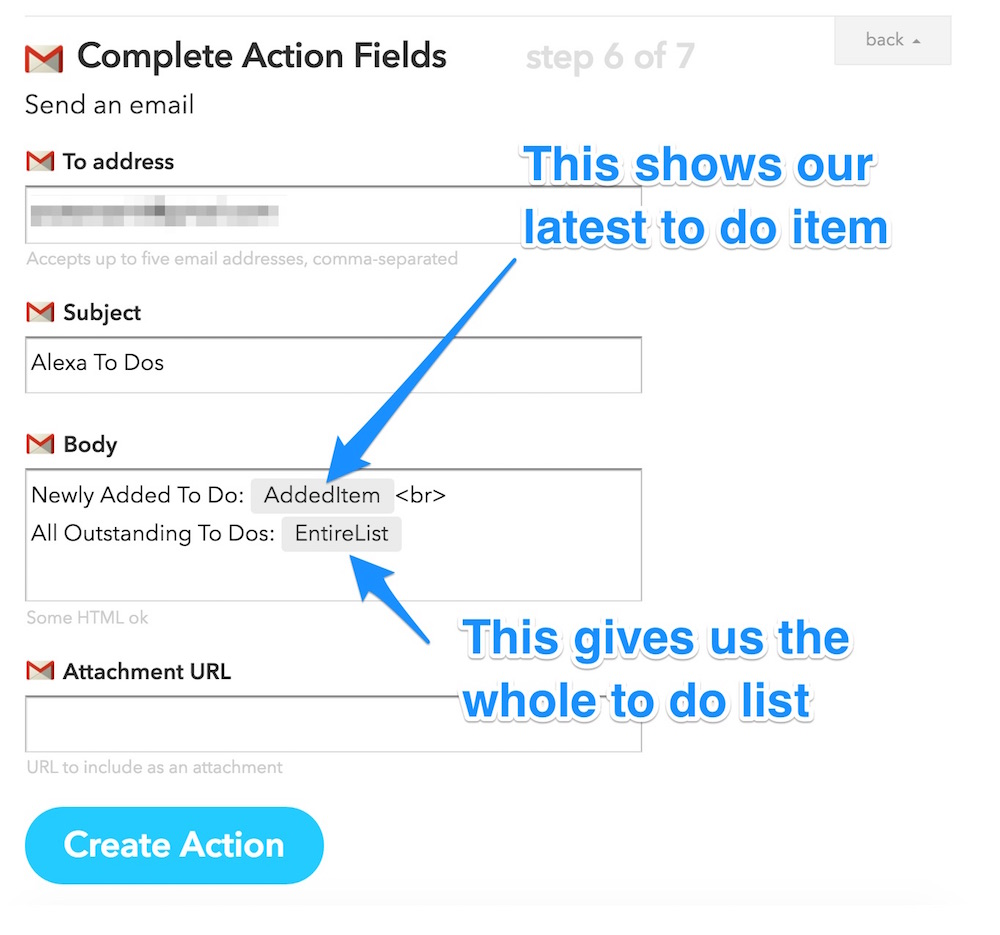 Completing email action fields