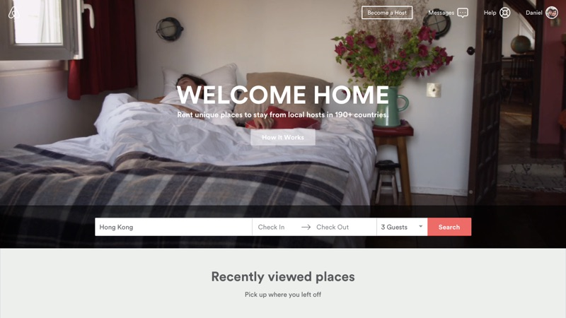 Airbnb's video-based header