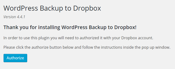 Backup to Dropbox authorize