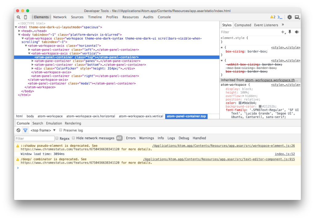 Chrome Developer Tools in Atom Editor