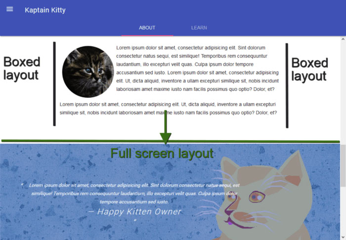 Full-screen and boxed sections in demo project layout