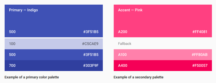 Material design color palette selection example