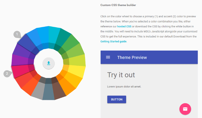 Custom CSS theme builder on the MDL website