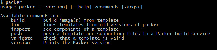 Default Packer command help output in the command line