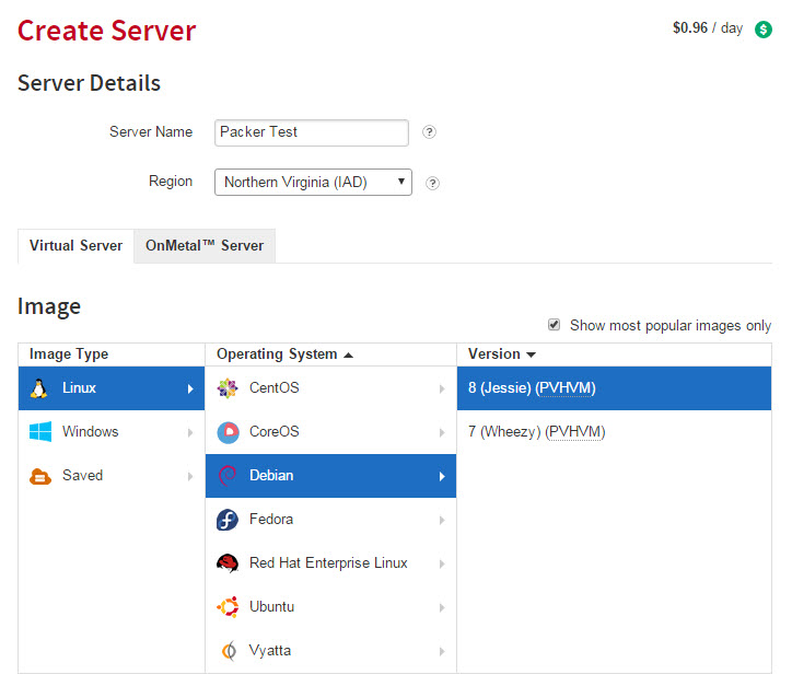 The selection process in the Rackspace UI needed in order to create a basic server
