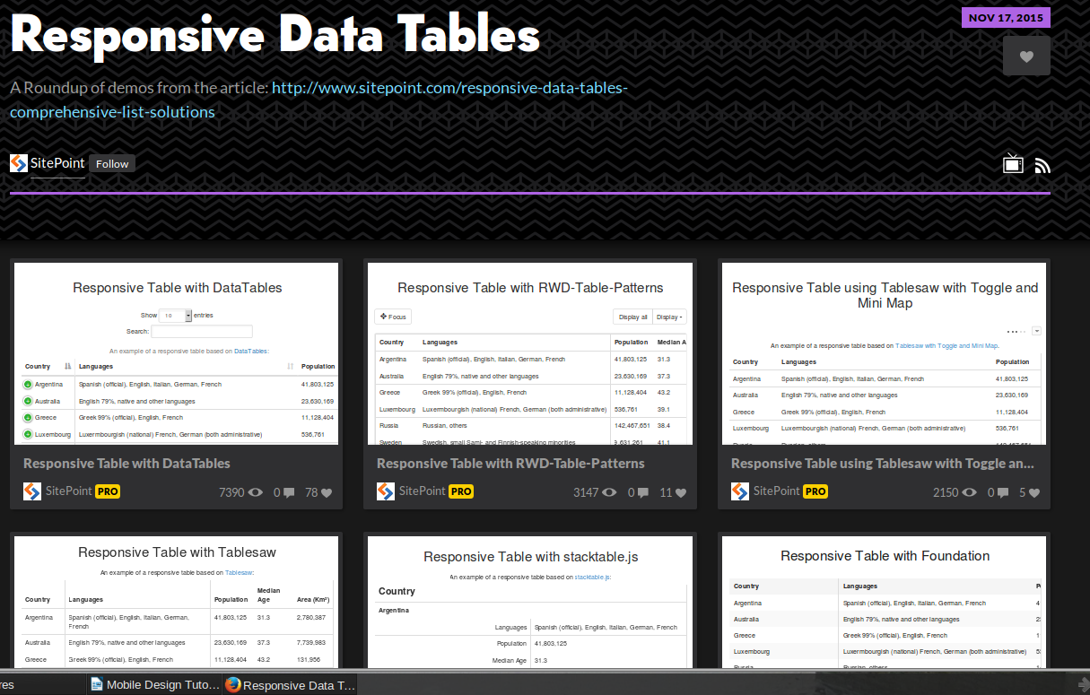 Responsive Data Tables