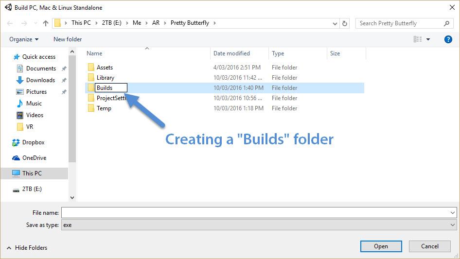 Creating a Builds folder