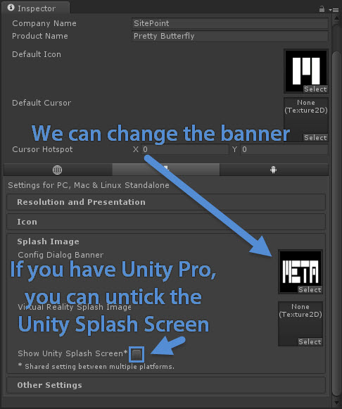 Setting banner and Unity Splash Screen settings