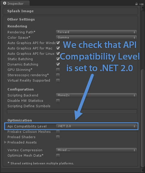 Setting API Compatibility Level to .NET 2.0