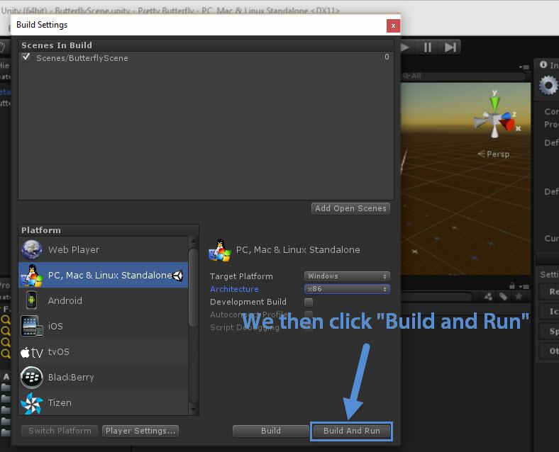 Clicking Build and Run