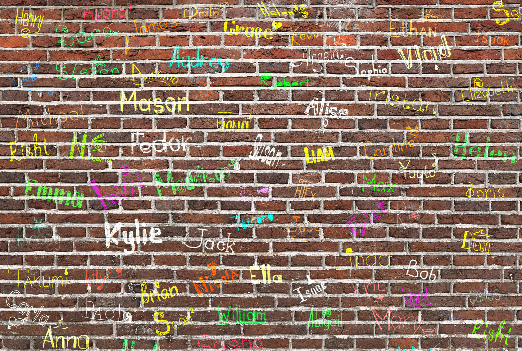 hildren's names written on a brick wall